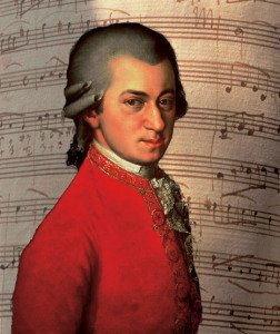 mozart with score background